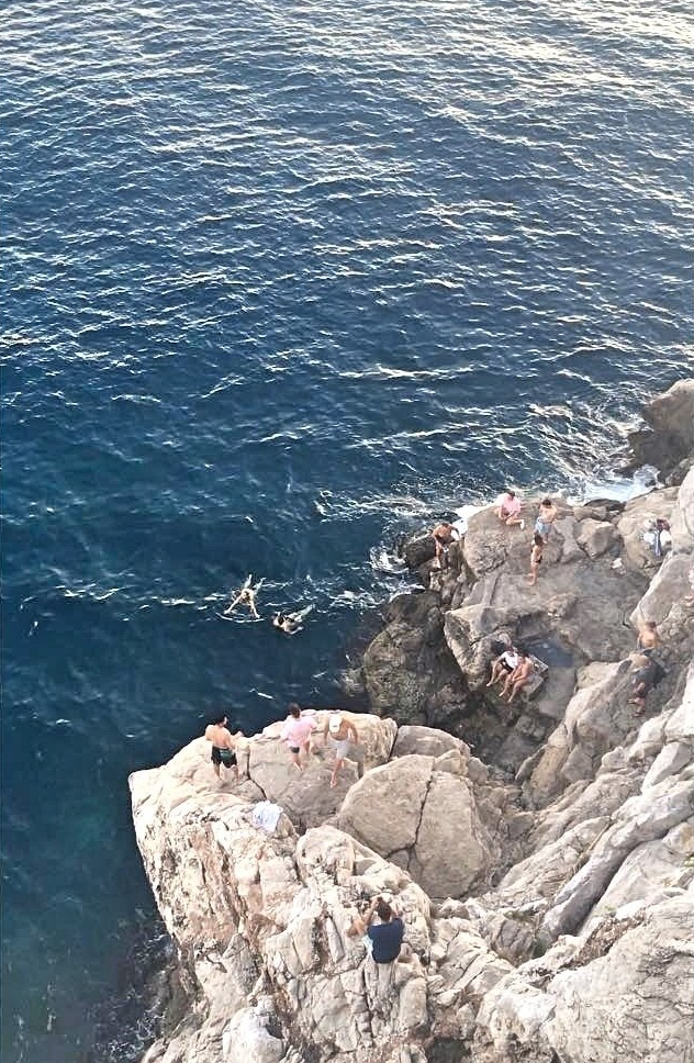 Cliff diving in Dubrovnik, Croatia