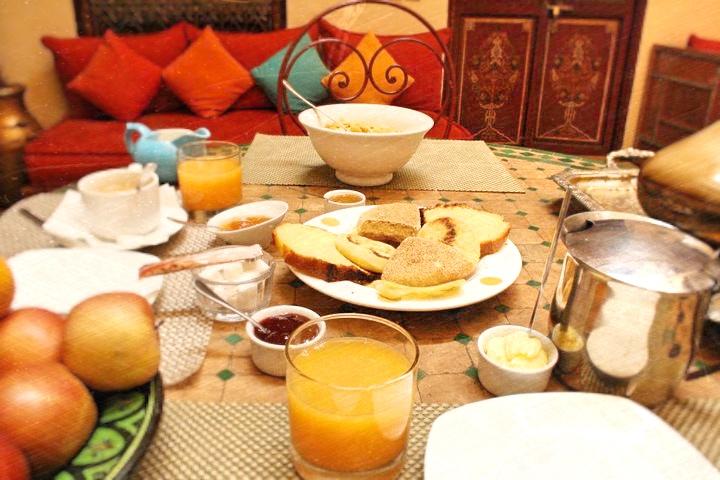 Delicious riad breakfast, Marrakesh Morocco