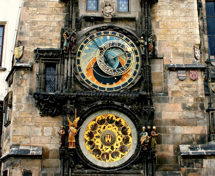 Prague old town square, clock tower