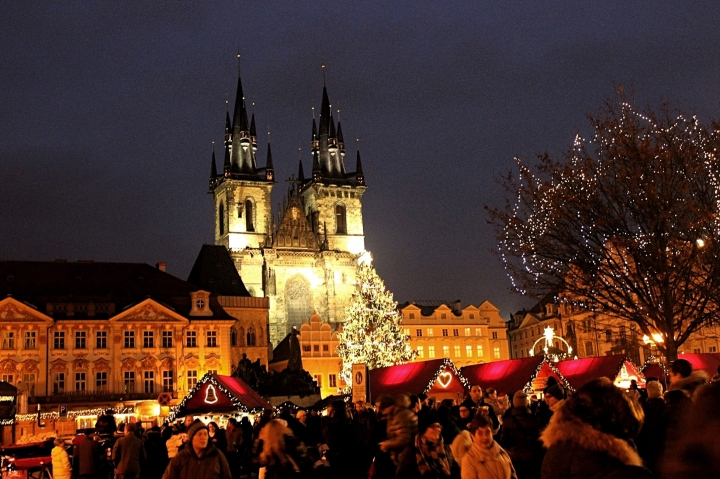 Prague town square at Christmas