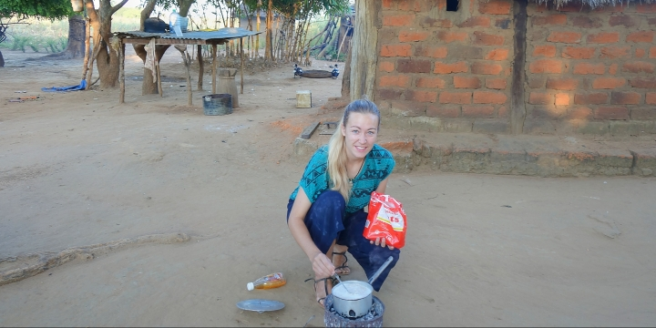 Cooking on a brazier in Africa