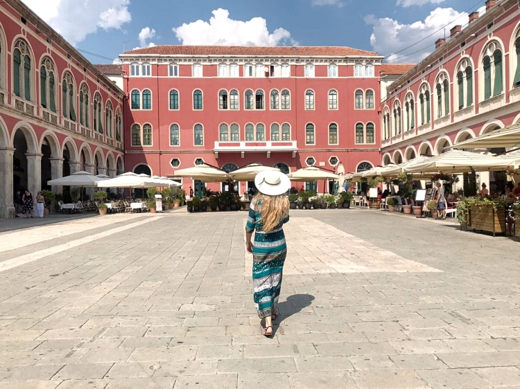 Mediterranean Square and red palace Split Croatia