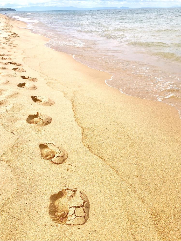 Footprints in the sand Chitimba at Lake Malawi