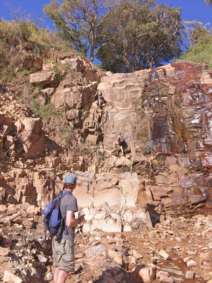 Climbing up the cliff face in Chimanimani Zimbabwe
