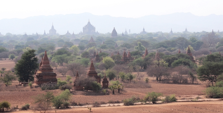 Gorgeous skyline with ancient temples of Bagan, Myanmar