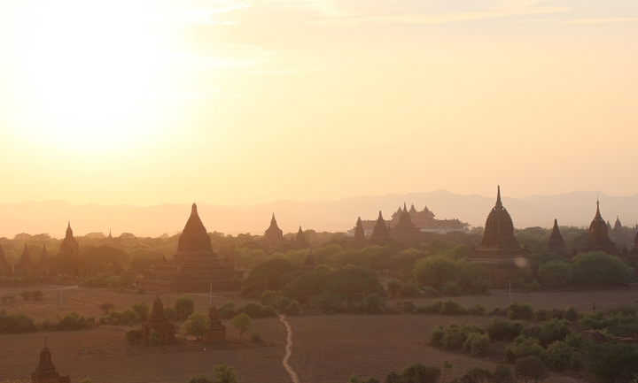 Ancient temples of Bagan in the morning haze